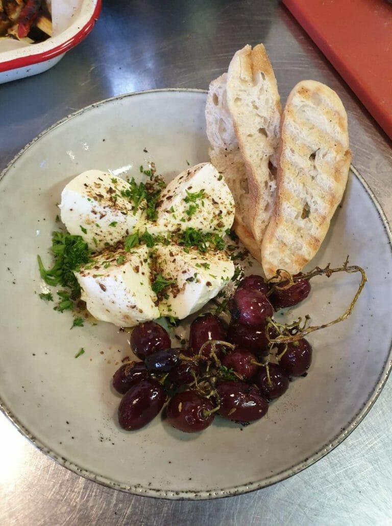 Burrata with roast fennel grapes, Zarephath Wines Café